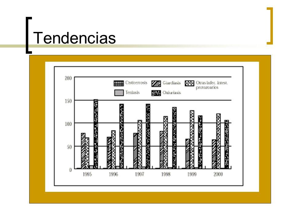 Giardiasis Giardia intestinalis La incidencia en niños entre 1 y 4 años es de > 200 casos/100,000 habitantes El resto de los grupos mantienen tasas 100/100,000 habitantes