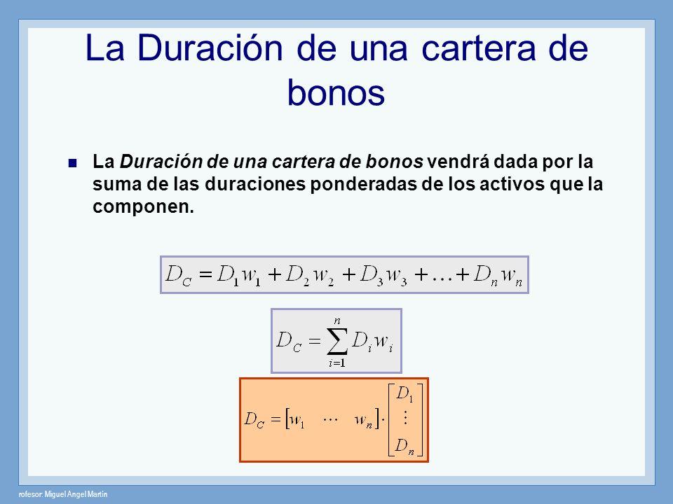 rofesor: Miguel Angel Martín La Duración de una cartera de bonos La Duración de una cartera de bonos vendrá dada por la suma de las duraciones pondera