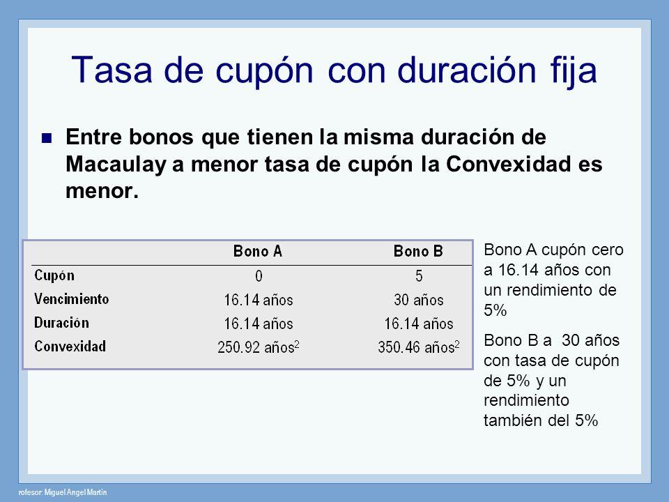 rofesor: Miguel Angel Martín Tasa de cupón con duración fija Entre bonos que tienen la misma duración de Macaulay a menor tasa de cupón la Convexidad
