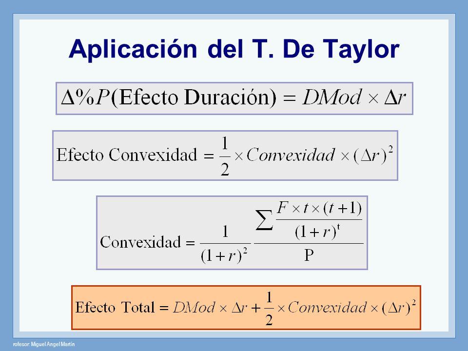 rofesor: Miguel Angel Martín Aplicación del T. De Taylor