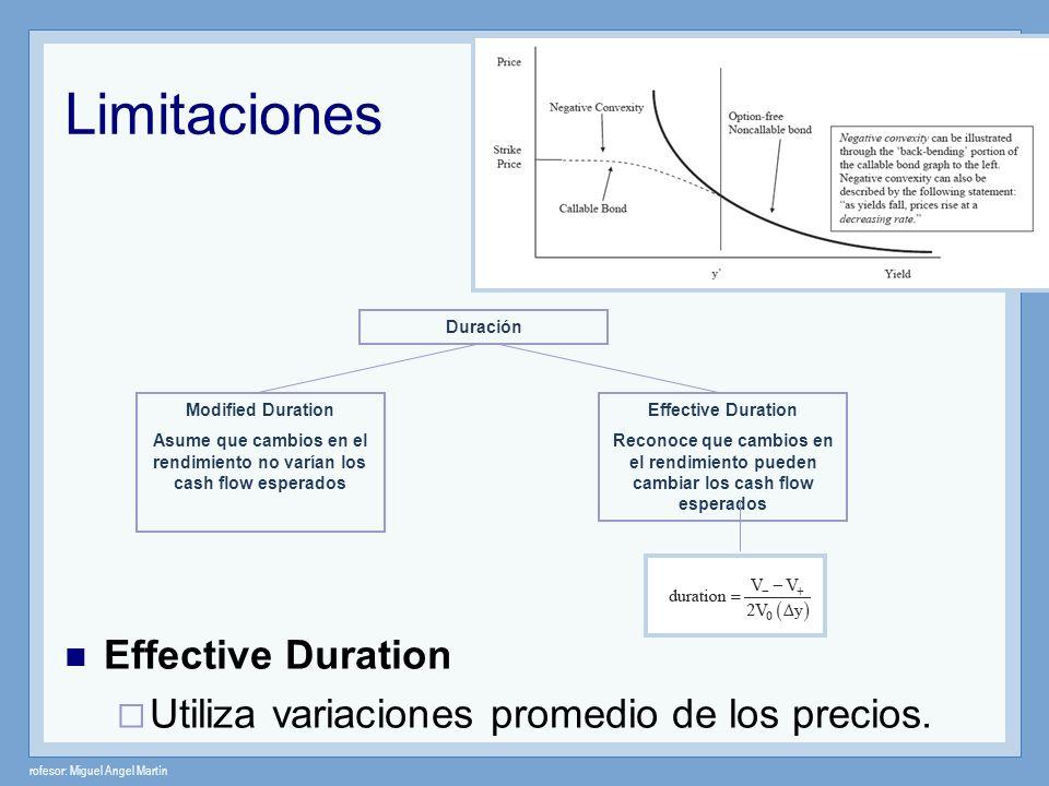 rofesor: Miguel Angel Martín Limitaciones Effective Duration Utiliza variaciones promedio de los precios. Duración Modified Duration Asume que cambios