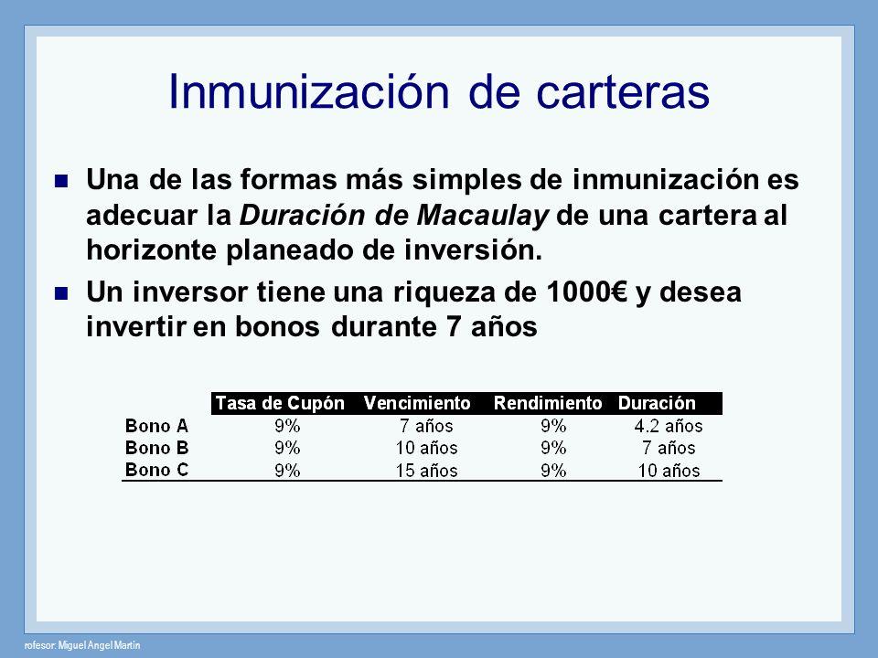 rofesor: Miguel Angel Martín Inmunización de carteras Una de las formas más simples de inmunización es adecuar la Duración de Macaulay de una cartera