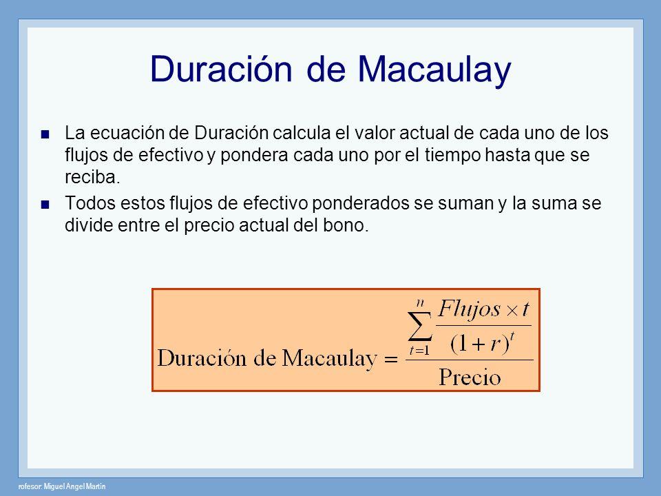 rofesor: Miguel Angel Martín Duración de Macaulay La ecuación de Duración calcula el valor actual de cada uno de los flujos de efectivo y pondera cada