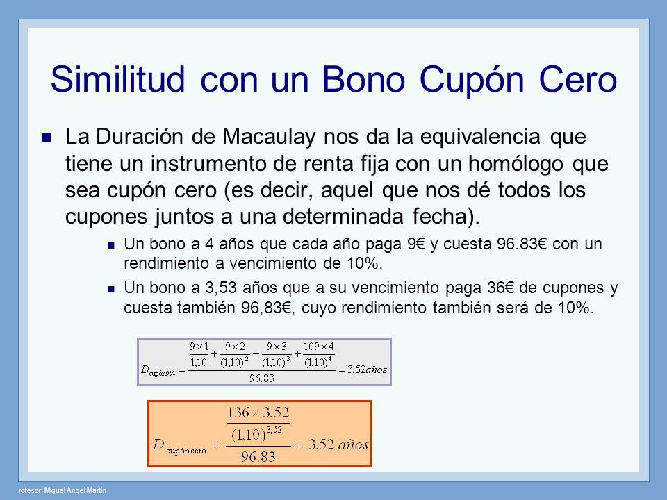 rofesor: Miguel Angel Martín Similitud con un Bono Cupón Cero La Duración de Macaulay nos da la equivalencia que tiene un instrumento de renta fija co