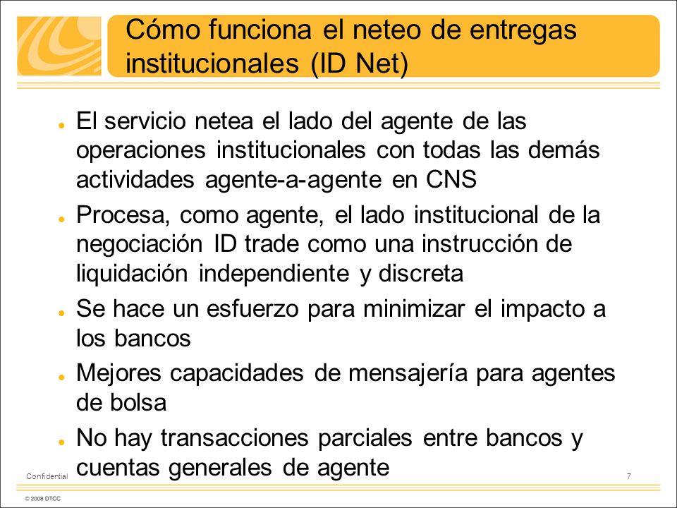 8 Confidential BANCO ID Net – Agente Entrega / Recibe compensación con posiciones CNS BANCO CNS CUENTA GENERAL NSCC (719) CUENTA GENERAL NSCC (919) Posiciones CNS (888) VENDECOMPRA