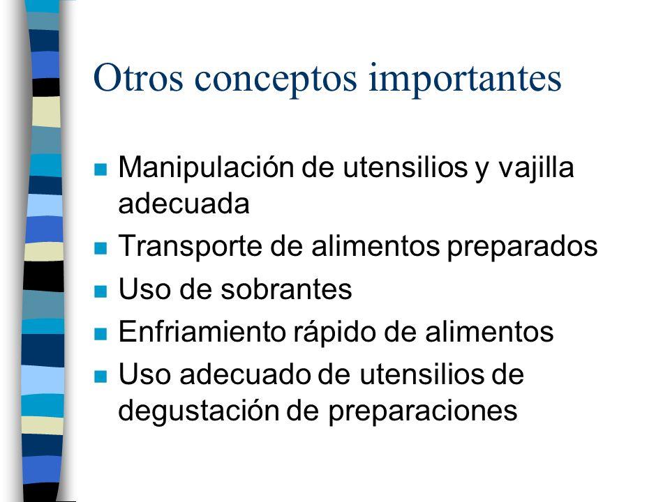 Otros conceptos importantes n Manipulación de utensilios y vajilla adecuada n Transporte de alimentos preparados n Uso de sobrantes n Enfriamiento ráp