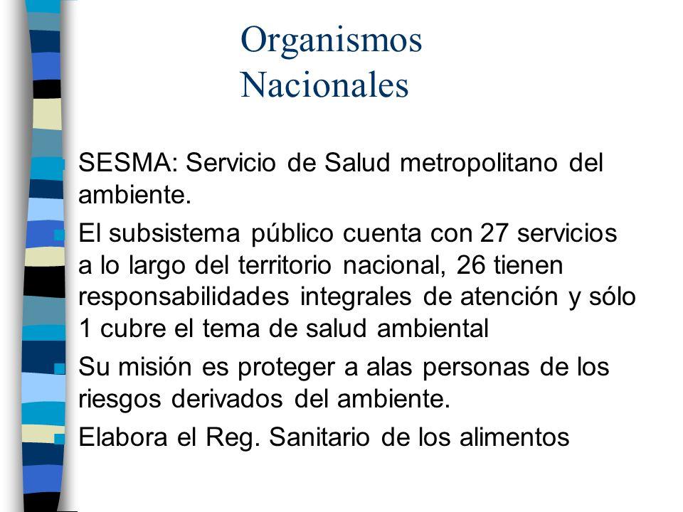 Organismos Nacionales n SESMA: Servicio de Salud metropolitano del ambiente. n El subsistema público cuenta con 27 servicios a lo largo del territorio