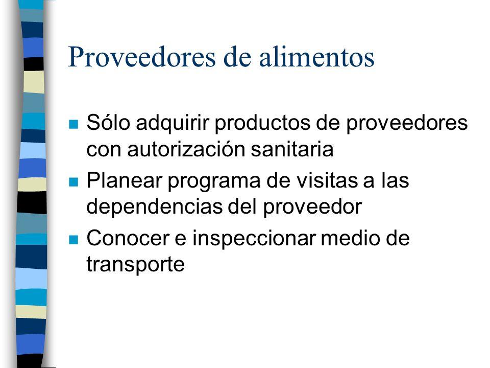 Proveedores de alimentos n Sólo adquirir productos de proveedores con autorización sanitaria n Planear programa de visitas a las dependencias del prov