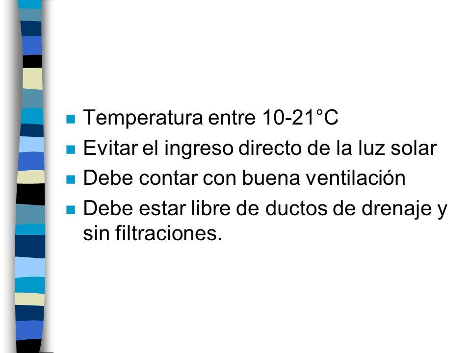 n Temperatura entre 10-21°C n Evitar el ingreso directo de la luz solar n Debe contar con buena ventilación n Debe estar libre de ductos de drenaje y