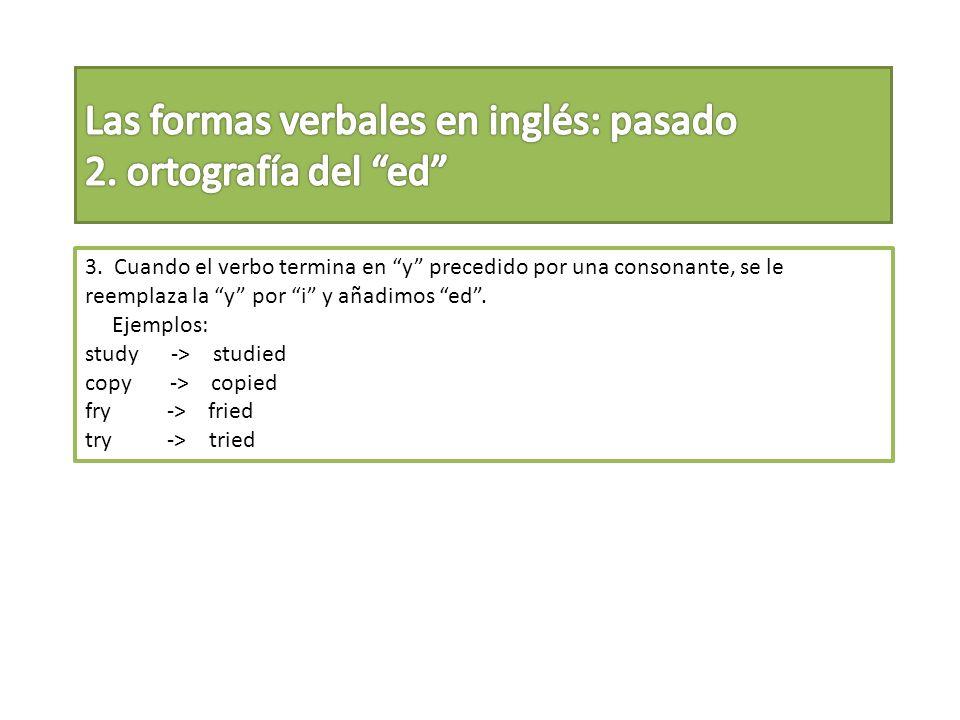 3. Cuando el verbo termina en y precedido por una consonante, se le reemplaza la y por i y añadimos ed. Ejemplos: study -> studied copy -> copied fry