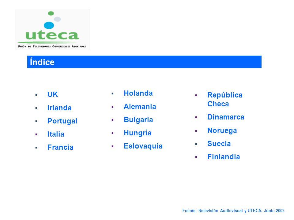 0 Estado de la TDT en varios países de Europa Fuente: Retevisión Audiovisual y UTECA. Junio 2003