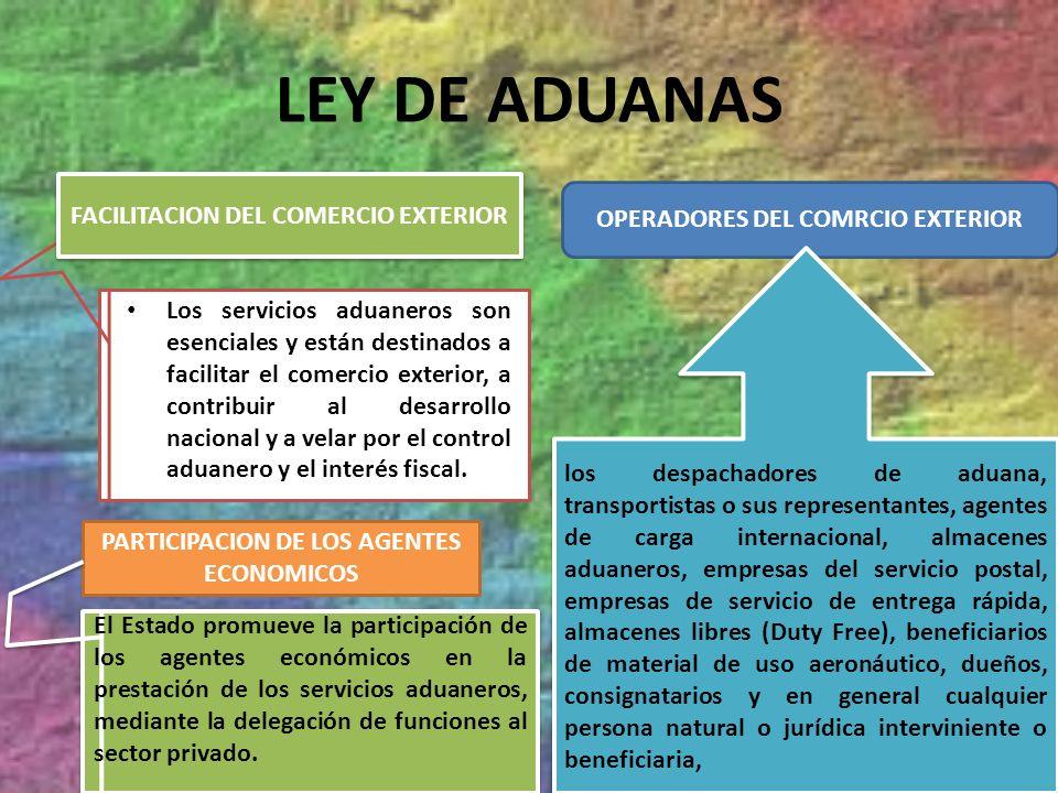 LEY DE ADUANAS Los servicios aduaneros son esenciales y están destinados a facilitar el comercio exterior, a contribuir al desarrollo nacional y a vel