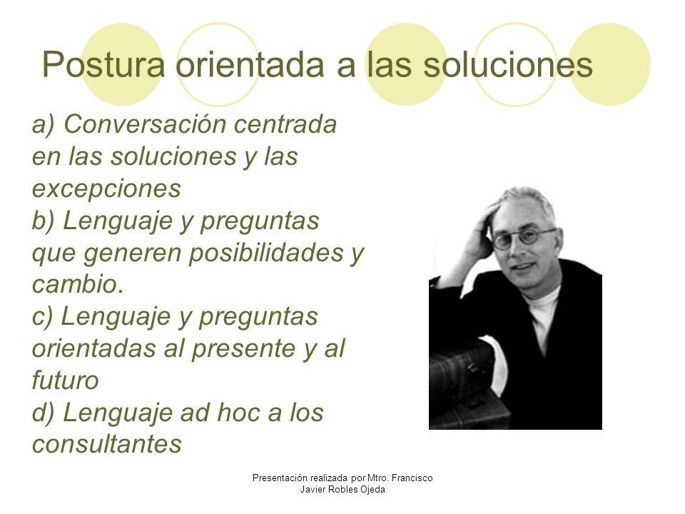 Postura orientada a las soluciones a) Conversación centrada en las soluciones y las excepciones b) Lenguaje y preguntas que generen posibilidades y ca