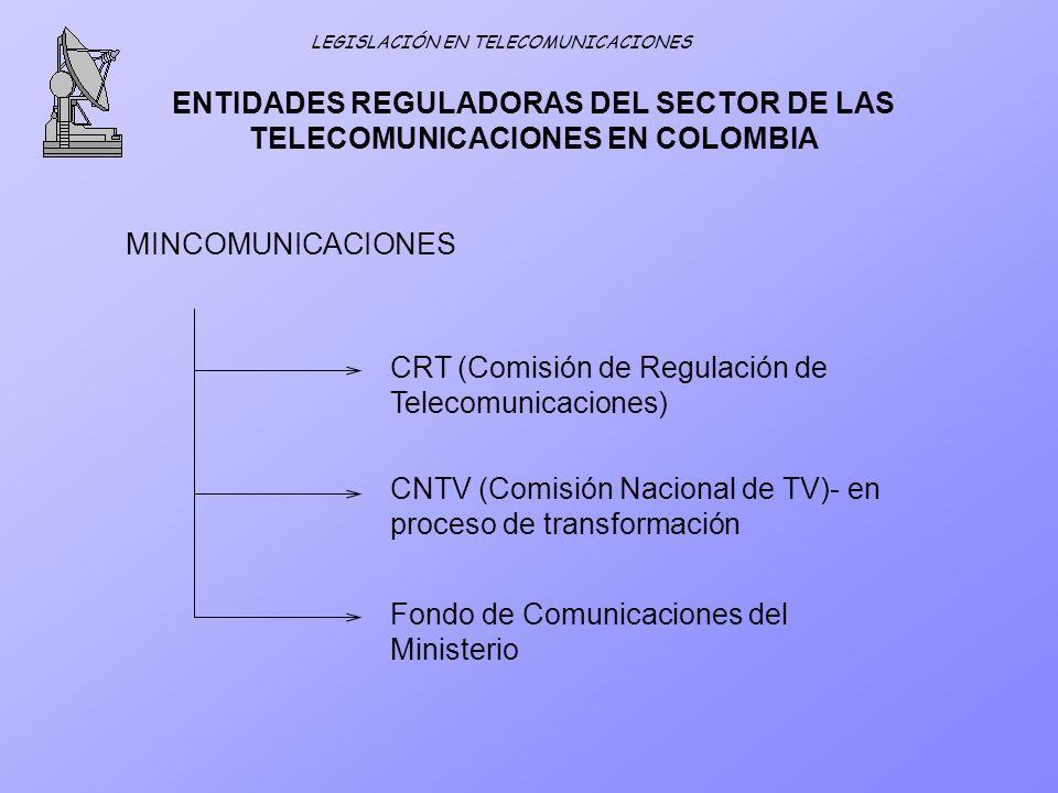 ENTIDADES REGULADORAS DEL SECTOR DE LAS TELECOMUNICACIONES EN COLOMBIA MINCOMUNICACIONES CRT (Comisión de Regulación de Telecomunicaciones) CNTV (Comi