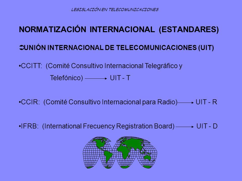 NORMATIZACIÓN INTERNACIONAL (ESTANDARES) LEGISLACIÓN EN TELECOMUNICACIONES UNIÓN INTERNACIONAL DE TELECOMUNICACIONES (UIT) CCITT: (Comité Consultivo I
