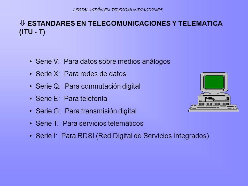 ESTANDARES EN TELECOMUNICACIONES Y TELEMATICA (ITU - T) Serie V: Para datos sobre medios análogos Serie X: Para redes de datos Serie Q: Para conmutaci