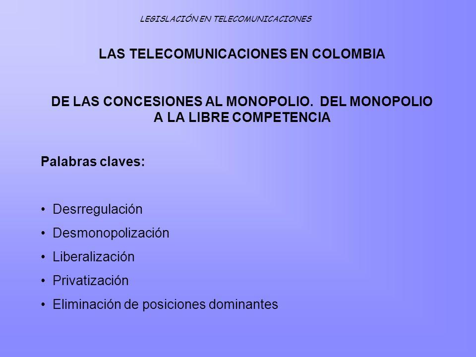 LAS TELECOMUNICACIONES EN COLOMBIA DE LAS CONCESIONES AL MONOPOLIO. DEL MONOPOLIO A LA LIBRE COMPETENCIA LEGISLACIÓN EN TELECOMUNICACIONES Palabras cl