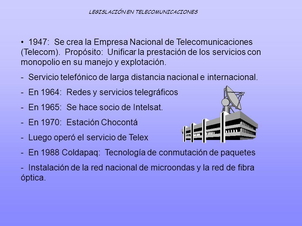 1947: Se crea la Empresa Nacional de Telecomunicaciones (Telecom). Propósito: Unificar la prestación de los servicios con monopolio en su manejo y exp