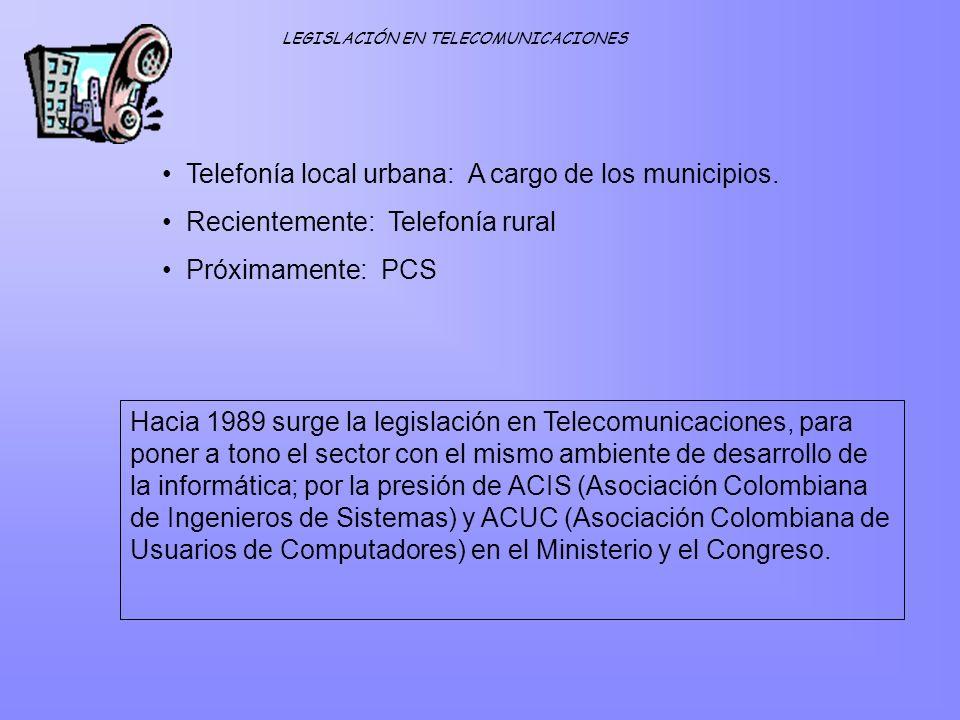 Telefonía local urbana: A cargo de los municipios. Recientemente: Telefonía rural Próximamente: PCS Hacia 1989 surge la legislación en Telecomunicacio
