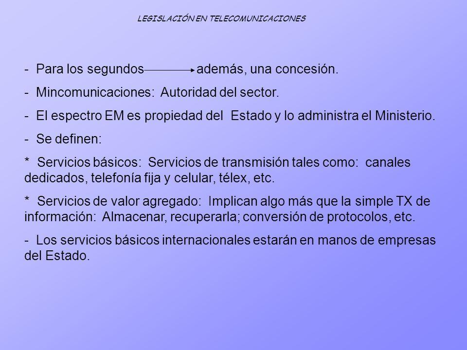 - Para los segundos además, una concesión. - Mincomunicaciones: Autoridad del sector. - El espectro EM es propiedad del Estado y lo administra el Mini