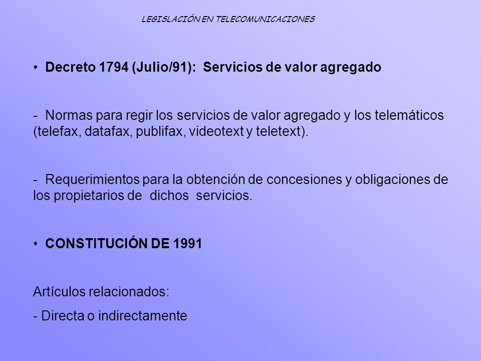 Decreto 1794 (Julio/91): Servicios de valor agregado - Normas para regir los servicios de valor agregado y los telemáticos (telefax, datafax, publifax