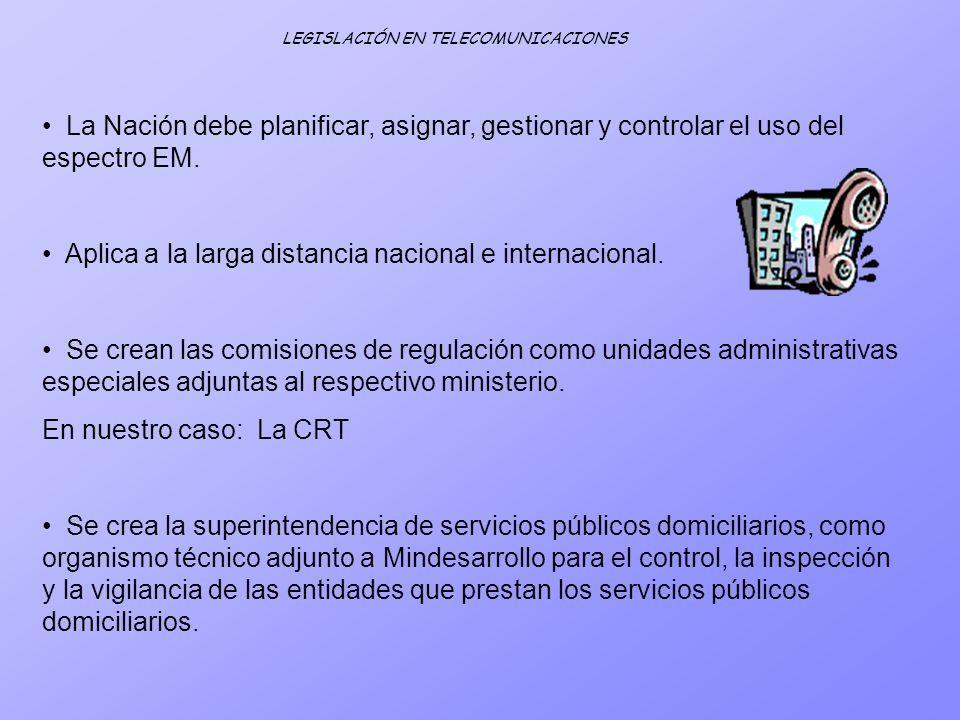 LEGISLACIÓN EN TELECOMUNICACIONES La Nación debe planificar, asignar, gestionar y controlar el uso del espectro EM. Aplica a la larga distancia nacion