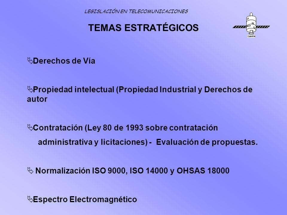 TEMAS ESTRATÉGICOS Derechos de Vía Propiedad intelectual (Propiedad Industrial y Derechos de autor Contratación (Ley 80 de 1993 sobre contratación adm