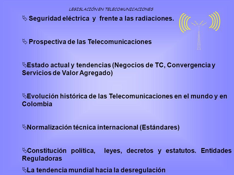 Seguridad eléctrica y frente a las radiaciones. Prospectiva de las Telecomunicaciones Estado actual y tendencias (Negocios de TC, Convergencia y Servi