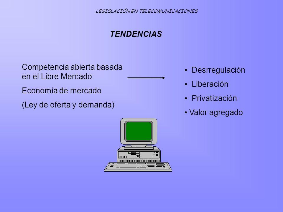 TENDENCIAS Competencia abierta basada en el Libre Mercado: Economía de mercado (Ley de oferta y demanda) Desrregulación Liberación Privatización Valor