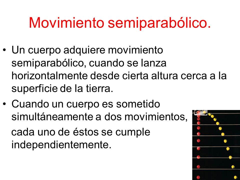 Movimiento semiparabólico. Un cuerpo adquiere movimiento semiparabólico, cuando se lanza horizontalmente desde cierta altura cerca a la superficie de