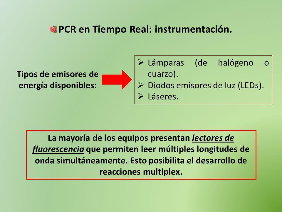 PCR en Tiempo Real: instrumentación. Tipos de emisores de energía disponibles: Lámparas (de halógeno o cuarzo). Diodos emisores de luz (LEDs). Láseres