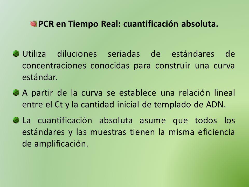 PCR en Tiempo Real: cuantificación absoluta. Utiliza diluciones seriadas de estándares de concentraciones conocidas para construir una curva estándar.