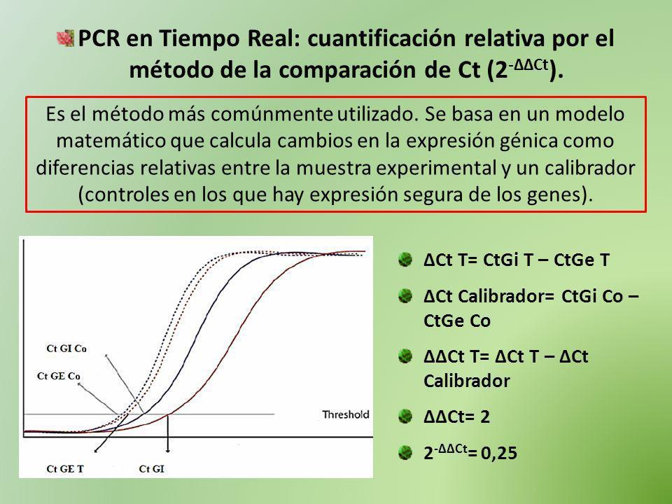 PCR en Tiempo Real: cuantificación relativa por el método de la comparación de Ct (2 -ΔΔCt ). Es el método más comúnmente utilizado. Se basa en un mod