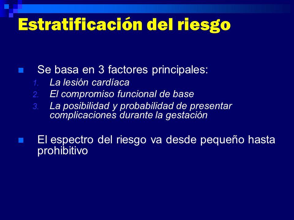 Estratificación del riesgo Se basa en 3 factores principales: 1. La lesión cardíaca 2. El compromiso funcional de base 3. La posibilidad y probabilida
