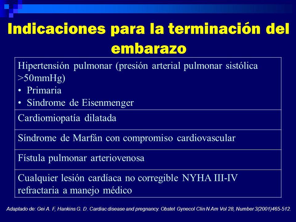 Indicaciones para la terminación del embarazo Hipertensión pulmonar (presión arterial pulmonar sistólica >50mmHg) Primaria Síndrome de Eisenmenger Car