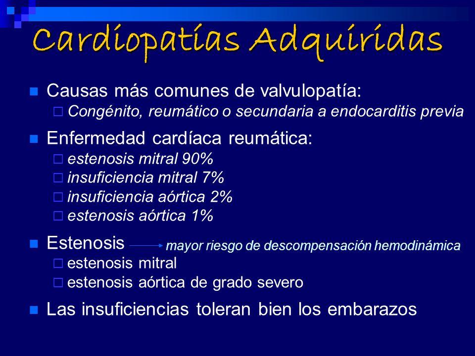 Cardiopatías Adquiridas Causas más comunes de valvulopatía: Congénito, reumático o secundaria a endocarditis previa Enfermedad cardíaca reumática: est
