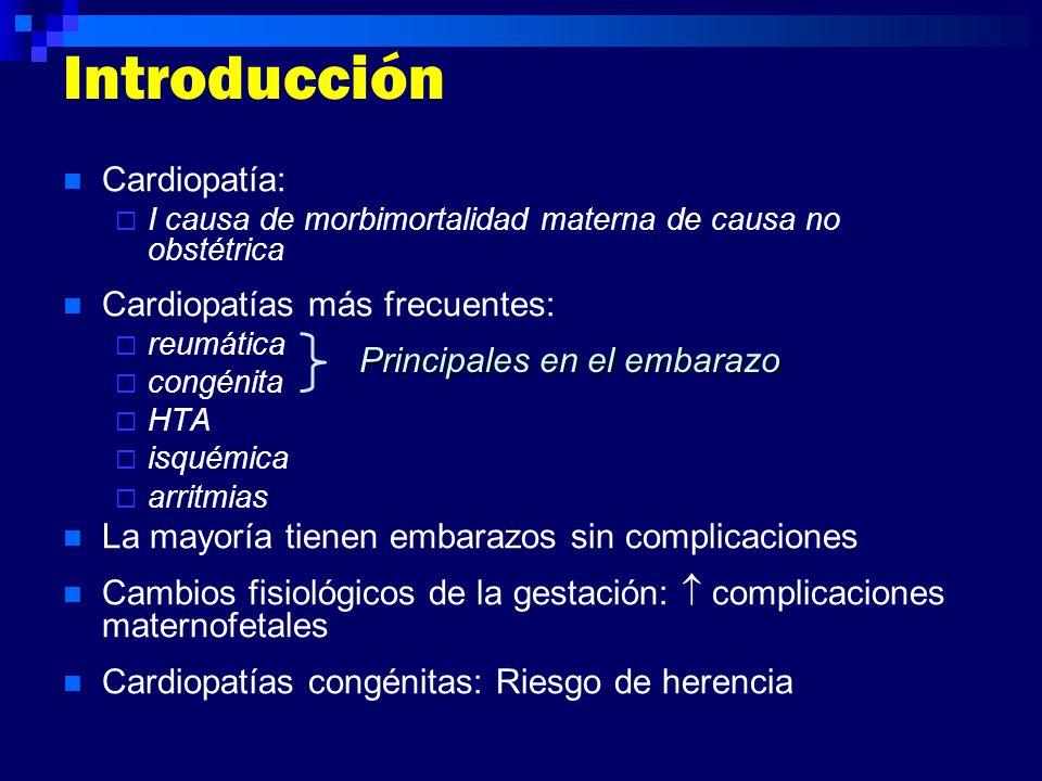 Introducción Cardiopatía: I causa de morbimortalidad materna de causa no obstétrica Cardiopatías más frecuentes: reumática congénita HTA isquémica arr