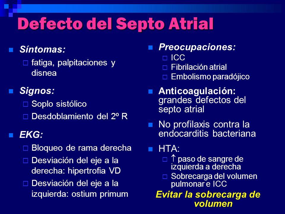 Defecto del Septo Atrial Síntomas: fatiga, palpitaciones y disnea Signos: Soplo sistólico Desdoblamiento del 2º R EKG: Bloqueo de rama derecha Desviac