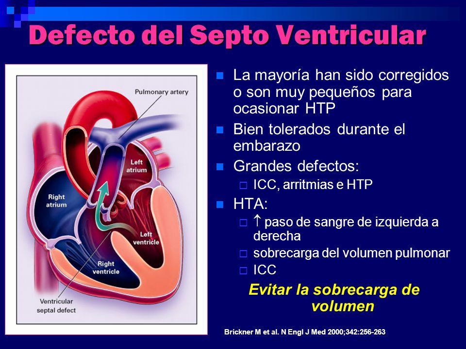 Defecto del Septo Ventricular La mayoría han sido corregidos o son muy pequeños para ocasionar HTP Bien tolerados durante el embarazo Grandes defectos