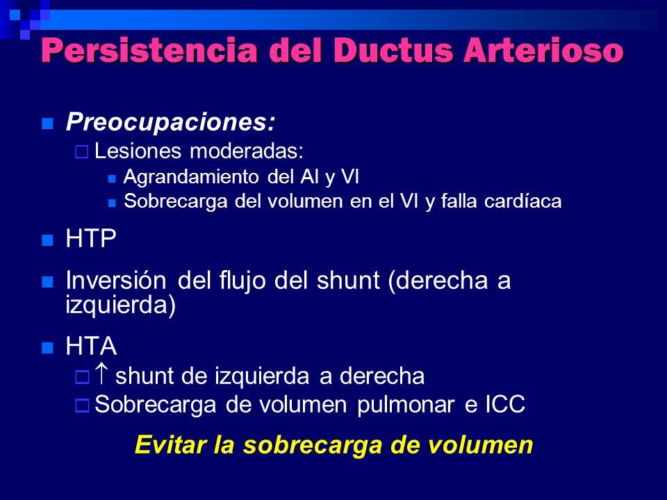 Persistencia del Ductus Arterioso Preocupaciones: Lesiones moderadas: Agrandamiento del AI y VI Sobrecarga del volumen en el VI y falla cardíaca HTP I