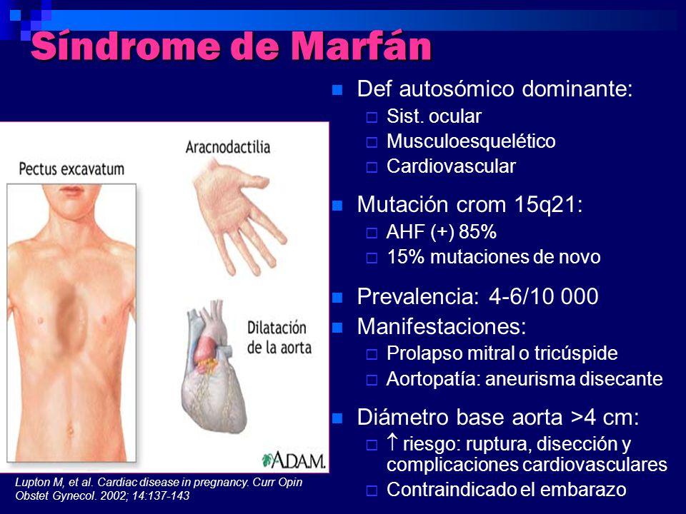 Síndrome de Marfán Def autosómico dominante: Sist. ocular Musculoesquelético Cardiovascular Mutación crom 15q21: AHF (+) 85% 15% mutaciones de novo Pr