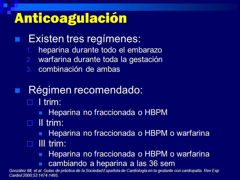 Anticoagulación Existen tres regímenes: 1. heparina durante todo el embarazo 2. warfarina durante toda la gestación 3. combinación de ambas Régimen re