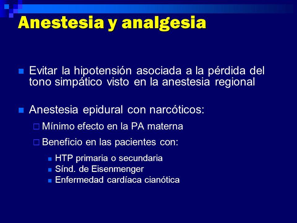 Anestesia y analgesia Evitar la hipotensión asociada a la pérdida del tono simpático visto en la anestesia regional Anestesia epidural con narcóticos: