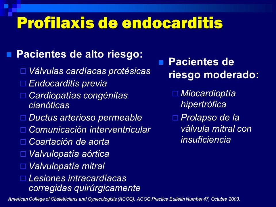 Profilaxis de endocarditis Pacientes de alto riesgo: Válvulas cardíacas protésicas Endocarditis previa Cardiopatías congénitas cianóticas Ductus arter