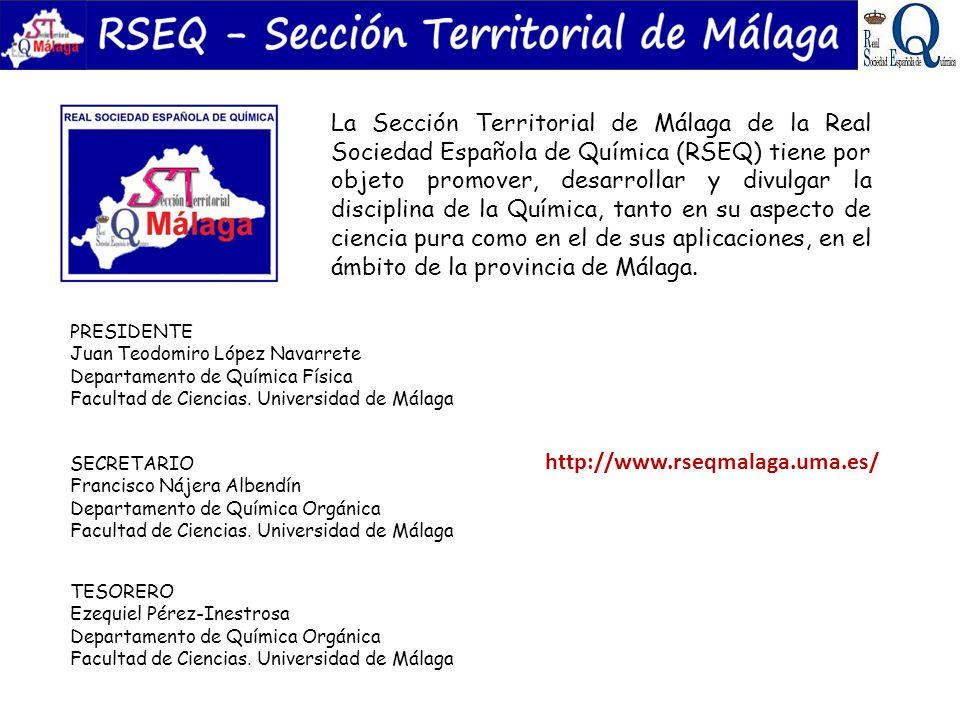 La Sección Territorial de Málaga de la Real Sociedad Española de Química (RSEQ) tiene por objeto promover, desarrollar y divulgar la disciplina de la