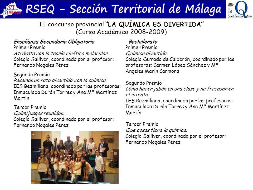 II concurso provincial LA QUÍMICA ES DIVERTIDA (Curso Académico 2008-2009) Enseñanza Secundaria Obligatoria Primer Premio Atrévete con la teoría cinét