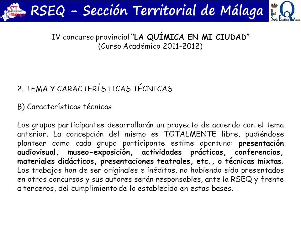 IV concurso provincial LA QUÍMICA EN MI CIUDAD (Curso Académico 2011-2012) 3.