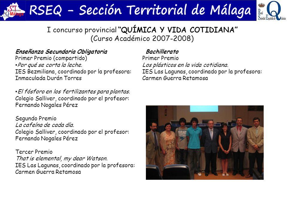 II concurso provincial LA QUÍMICA ES DIVERTIDA (Curso Académico 2008-2009) Enseñanza Secundaria Obligatoria Primer Premio Atrévete con la teoría cinético molecular.