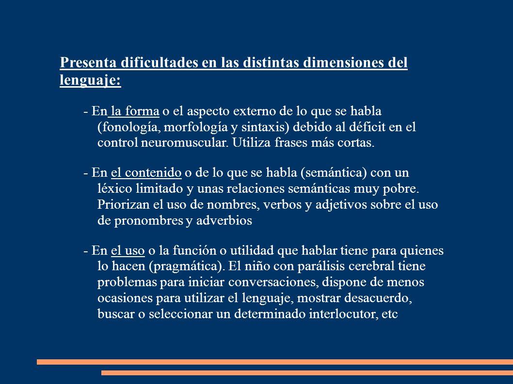 Presenta dificultades en las distintas dimensiones del lenguaje: - En la forma o el aspecto externo de lo que se habla (fonología, morfología y sintax
