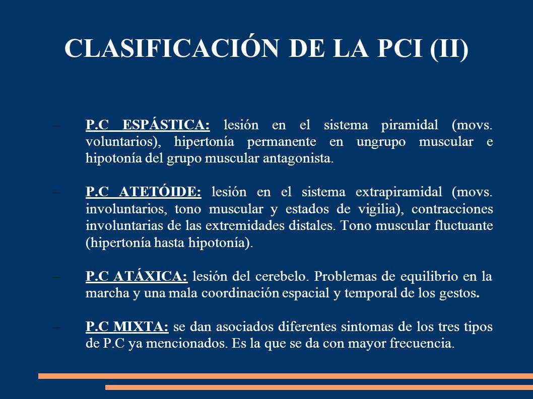 CLASIFICACIÓN DE LA PCI (II) –P.C ESPÁSTICA: lesión en el sistema piramidal (movs. voluntarios), hipertonía permanente en ungrupo muscular e hipotonía